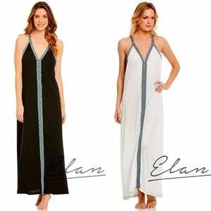 Elan White or Black Halter Maxi Cover Up Dress